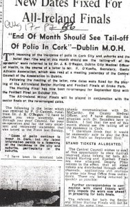 Examiner Polio All Ireland Finals Piece 1956
